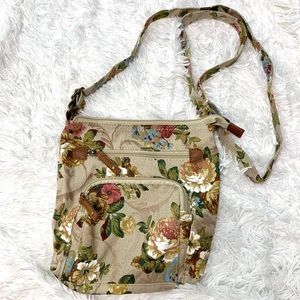 Brown Floral purse with leather details